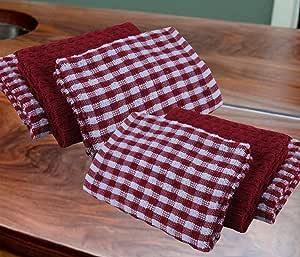 Casabella - Juego de 6 paños de cocina de algodón de rizo, algodón, Rojo, 6 Pieces Set: Amazon.es: Hogar