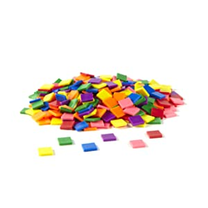 hand2mind Plastic 1 Inch Rainbow Color Tiles, Math Manipulatives For Kids Ages 4-13, Develop Early Math Concepts At Home, Homeschooling Supplies (Pack of 400)