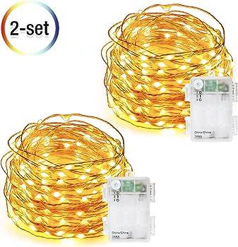 2-Set DecorNova 60 LED IP44 Waterproof Copper Wire String Lights