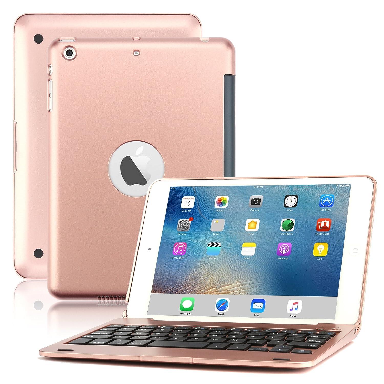 d0456b19602 iPad Mini Keyboard Case, BoriYuan Bluetooth Wireless Keyboard Folio Flip  Smart Cover for Apple iPad Mini 3/ Mini 2/ Mini 1 with Folding Stand and  Auto ...