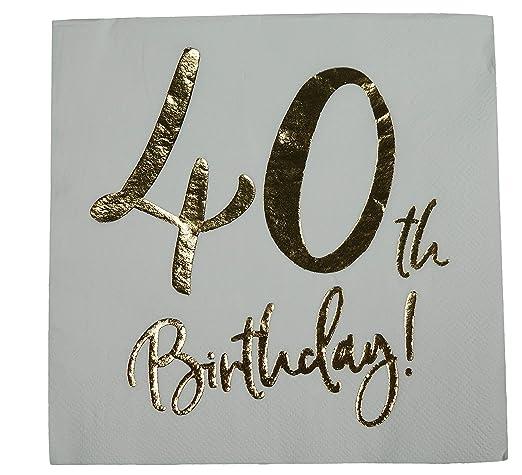 khevga - Servilletas para 40 cumpleaños, Color Blanco con ...
