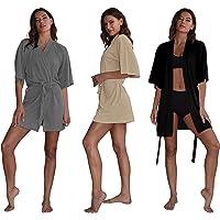 Sexy Basics Kimono para Mujer, Paquete de 3, Bata de baño Liviana y fluida con Cuello en V