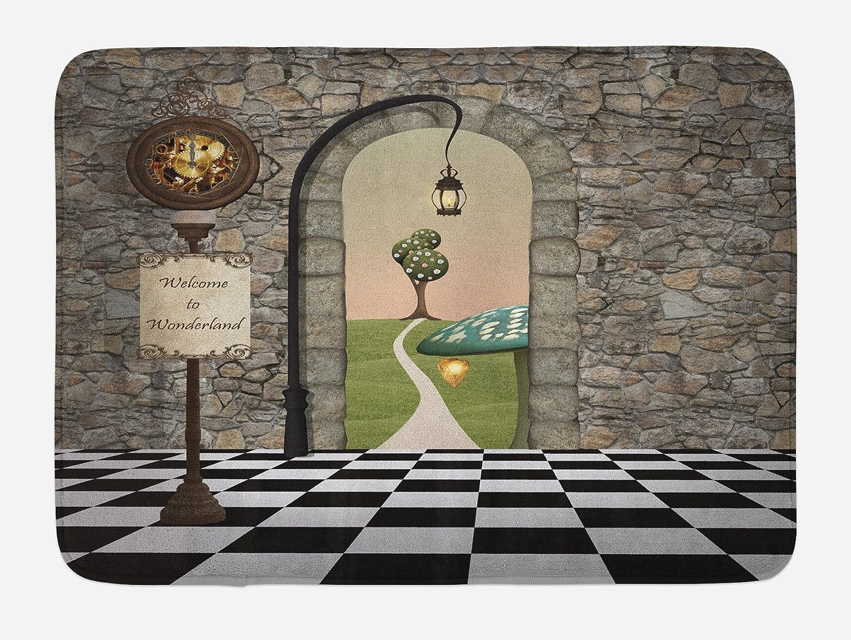 Ambesonne Alice in Wonderland Bath Mat, Welcome Wonderland Black and White Floor Landscape Mushroom Lantern, Plush Bathroom Decor Mat with Non Slip Backing, 29.5 W X 17.5 W Inches, Multicolor