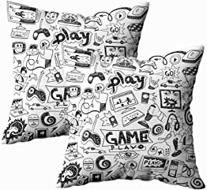 TOMKEY Standard Pillow Cases, 2 Packs Hidden Zippered 18X18Inch Computer Games Doodles Decorative Throw Cotton Pillow Case Cushion Cover for Home Decor