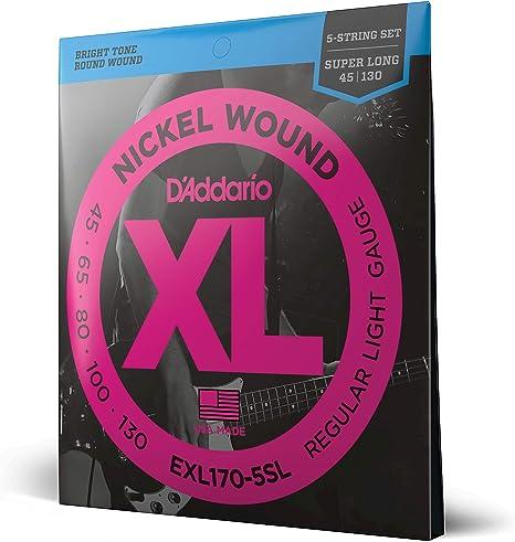 Light D/'Addario EXL170-5SL Nickel Wound 5-String Bass Super Long Scale