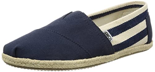 TOMS Canvas Classic Stripe Alpargata, Zapatillas Hombre, Negro (Black Stripe University), 41 EU