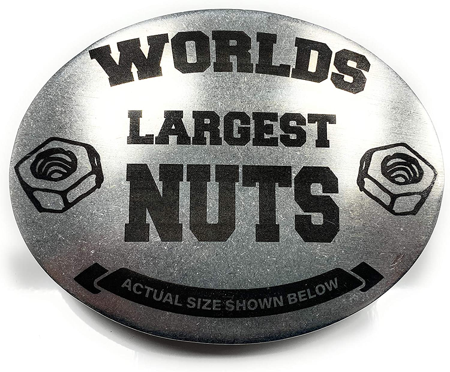 WORLDS LARGEST NUTS Funny designed AUTHENTIC BevBuckle BEER HOLDER BELT BUCKLE. PATENTED. MADE IN THE USA!