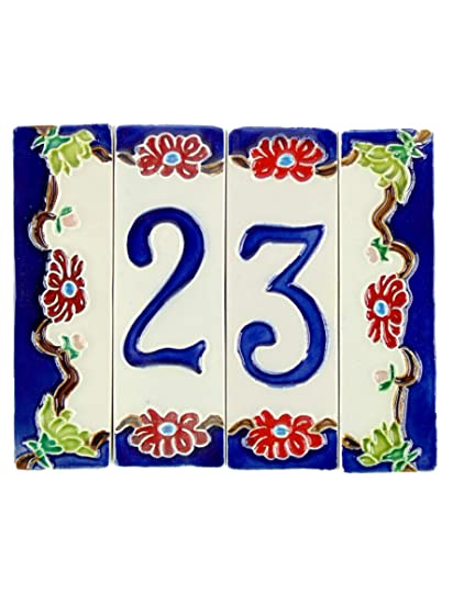 Numeri Civici In Ceramica.Numeri Civici In Ceramica Numero Civico Ceramica Con Soggetto Fiori Oggetto In Ceramica Da Esterno Colorati A Mano Nfp2 Misure H 11 5cm Larghezza