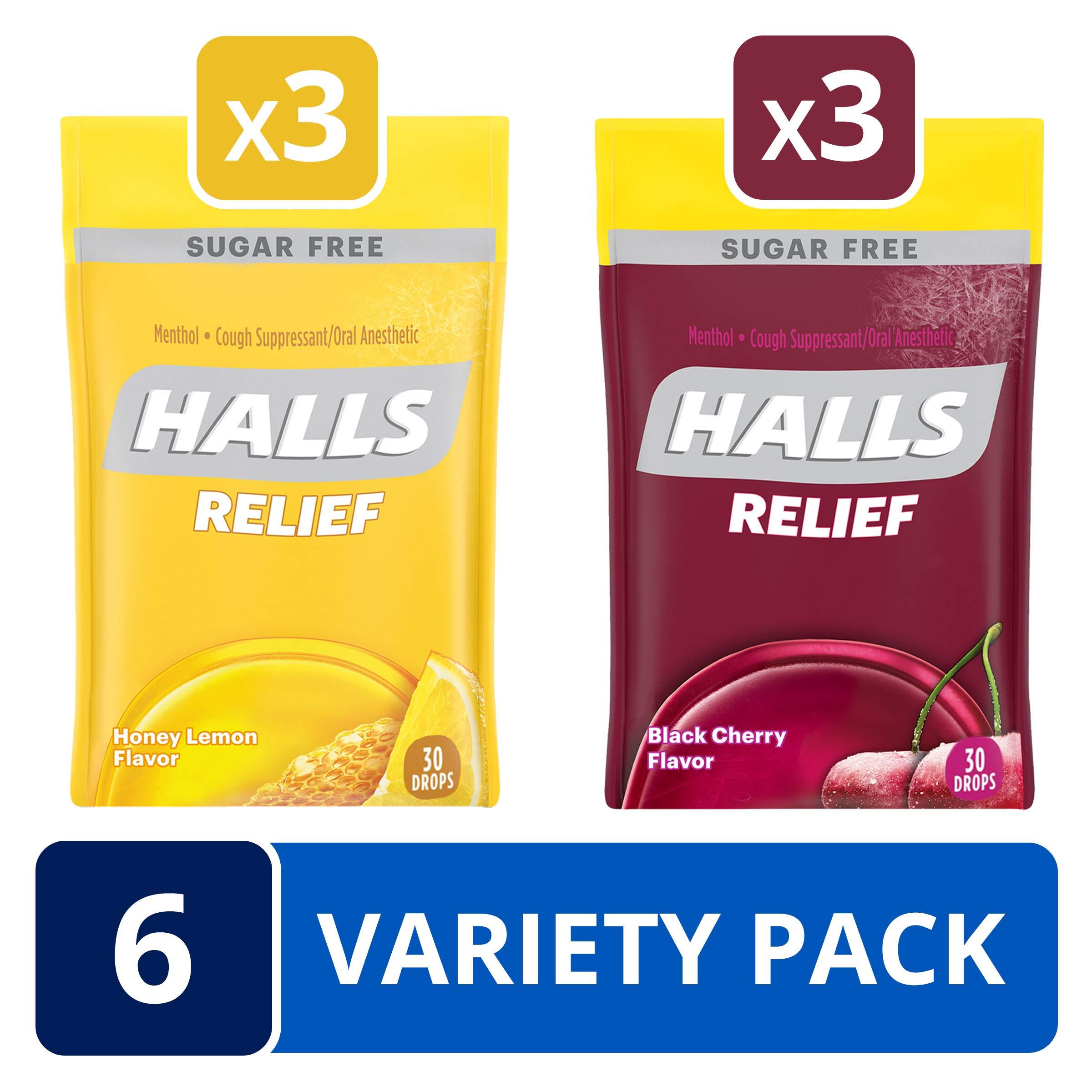 HALLS Sugar Free Cough Drops Honey Lemon & Black Cherry Variety Pack - 150 total drops by Halls