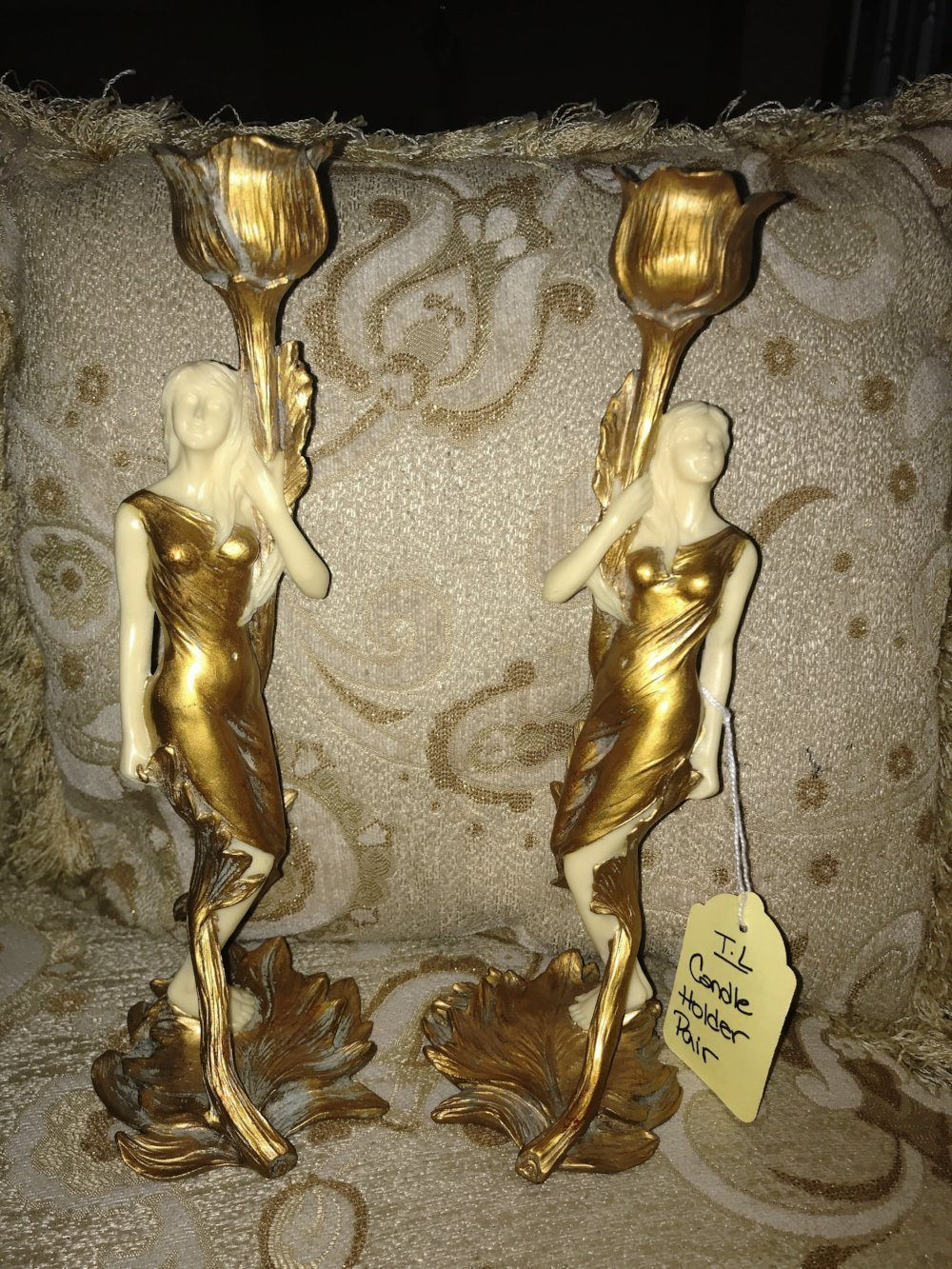 Top Land Trading Gold Pair of Women Candle Holder