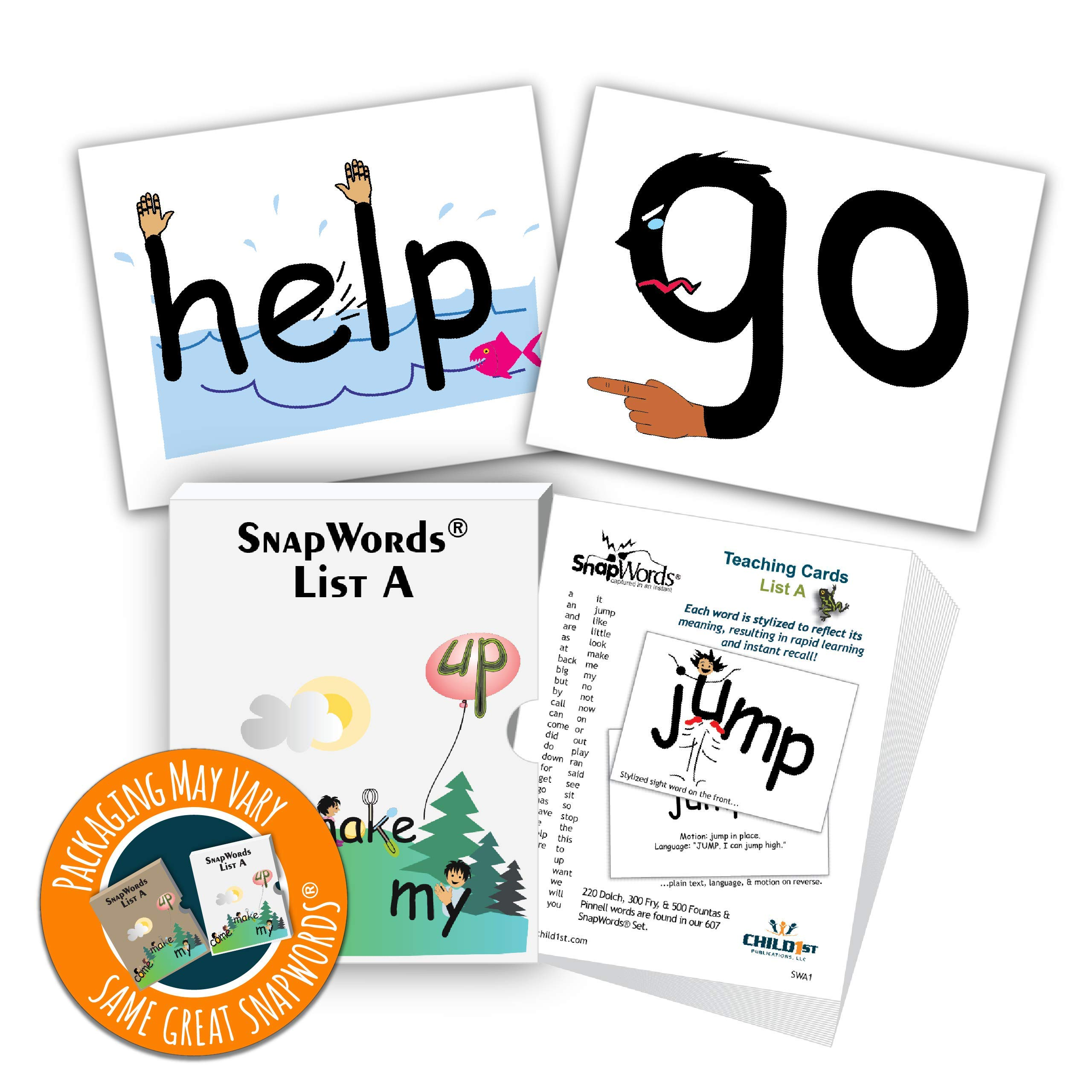 SnapWords List A Teaching Cards by Child1st Publications, LLC