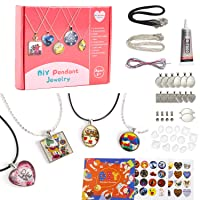 Juboury Girls Jewelry Making Kit - Jewelry Craft Kit, DIY Pendant Necklace and Bracelet Crafting Set for Kids and Teen Girls, Make 12 Necklaces and 2 Bracelets with Craft Supplies