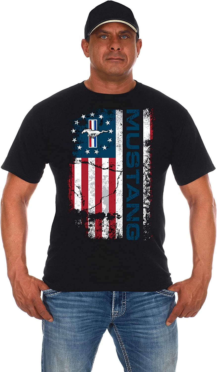 JH DESIGN GROUP Mens Ford Mustang Distressed U.S.A Old Glory Flag T-Shirt