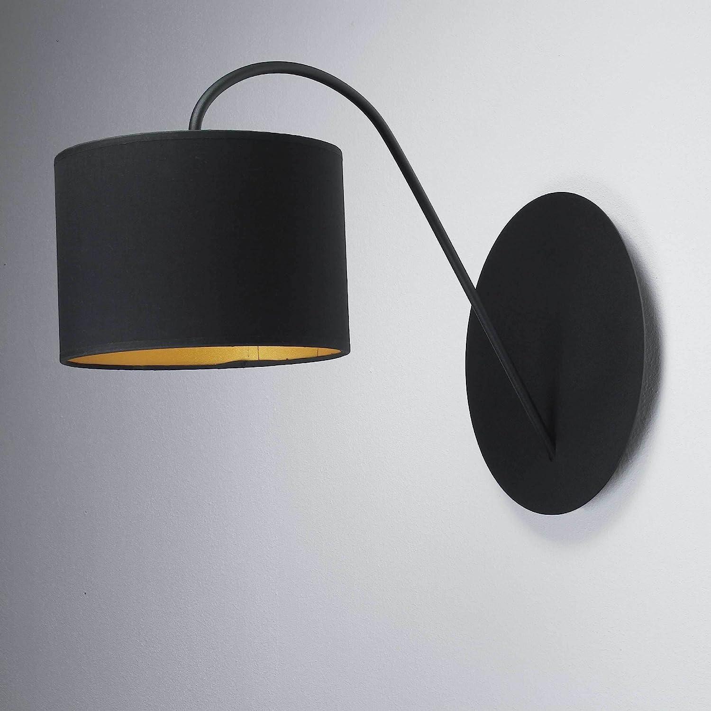Wandleuchte Loft / im modern Stil / schwarz und gold / Stoffschirm / 1x E27 bis max. 60W 230V / Wandlampe innen / Beleuchtung Wohnzimmer Schlafzimmer
