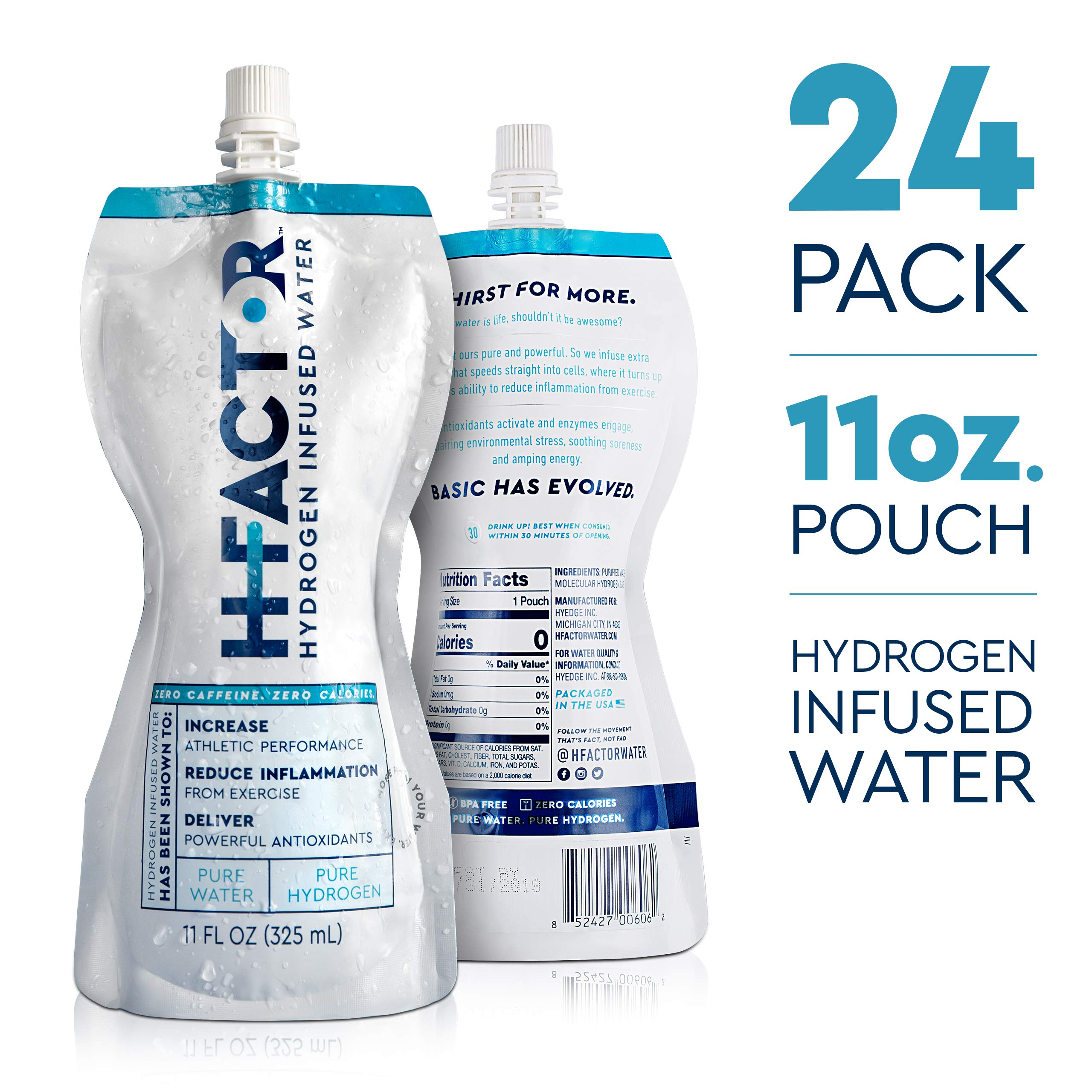 HFactor Hydrogen Infused Pure Drinking Water, Pre Or Post Workout Recovery Drink, 11 Fl Oz (24 Pack), Molecular Hydrogen Supports Athletic Performance Delivers Antioxidant, Packaging May Vary by H Factor (Image #2)