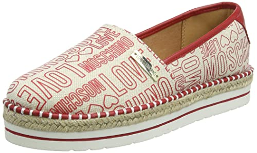 Scarpad.13447/35 Can.Emb.RSS/Vt.RSS, Mocasines para Mujer, Rojo (Red), 41 EU Love Moschino