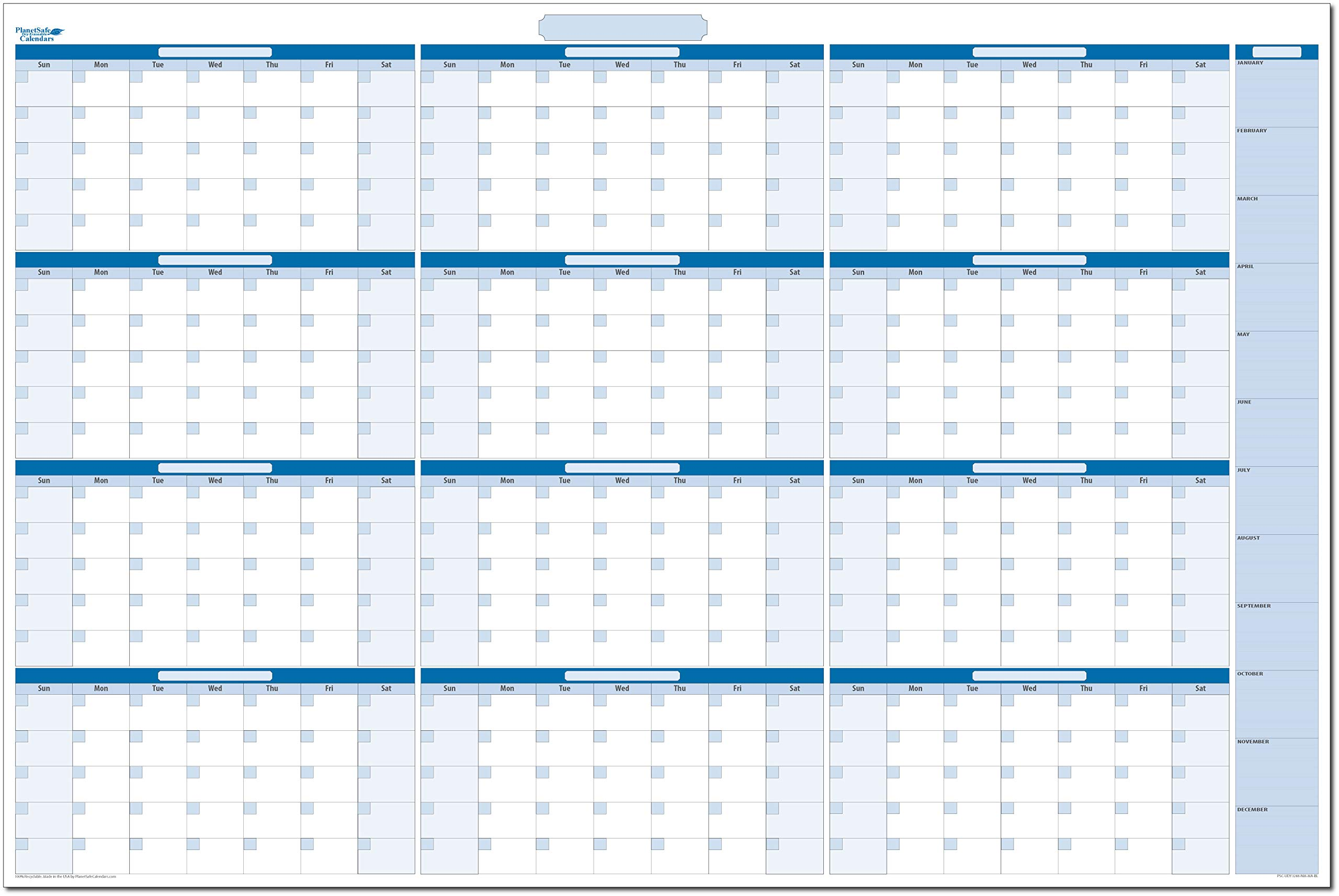 Sky Blue Large Undated Horizontal Yearly Dry-erase Wall Calendar: No Months Listed - 32 in. x 48 in (BL-MA-NM) by PlanetSafe Planners & Calendars