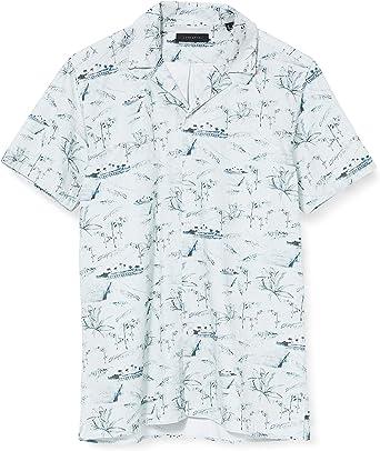 Cortefiel Camp Collar Printed Camisa Casual para Hombre: Amazon.es: Ropa y accesorios
