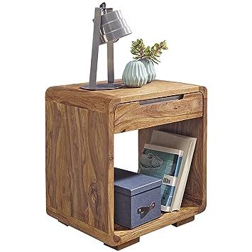 Nachttisch Design | Wohnling Design Nachttisch Massivholz Sheesham Nacht Kommode 50 Cm