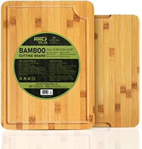 Bamboo Cutting Board for Chopping Meat, Vegetables, Serving Fruits, Cheese - with Juice Groove and Built-in side Handles - Reversible - 100% Natural Bamboo (Large (13.38