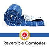 Divine Casa Luxor Abstract Polyester Single Comforter - Dazzling Blue and White (110 GSM)