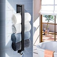 PHZ Toallero autoadhesivo barra de toallas, sin agujeros, acero inoxidable, negro, 40 cm