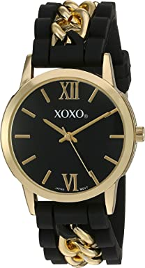 XOXO Womens Quartz Metal and Rubber Watch, Color:Black (Model: XO8101)