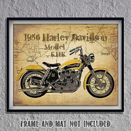 Amazon Com Harley Davidson 1956 Model Khk Motorcycle Vintage Print