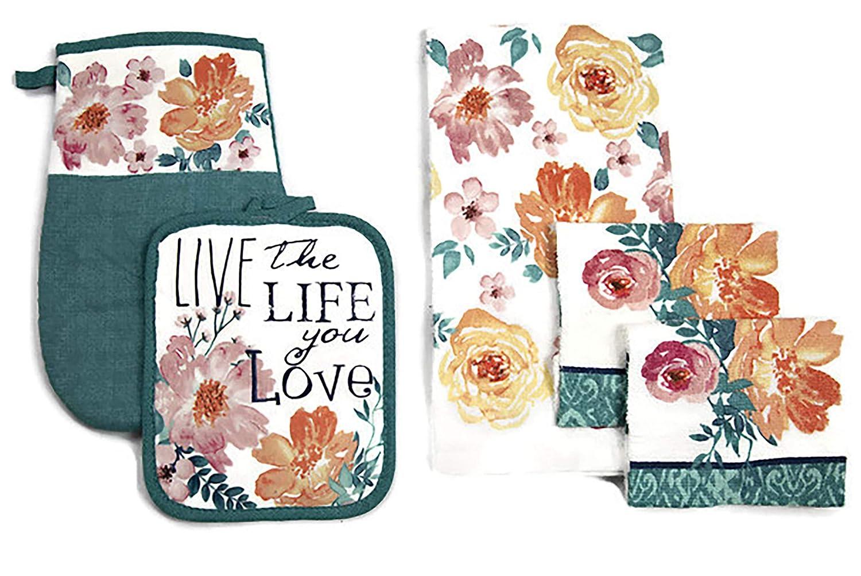 Lobyn Value Packs Kitchen Towel 5 Piece Linen Set Towel 1 Pot Holder 1 Oven Mit 2 Dish Cloths (Floral Script)