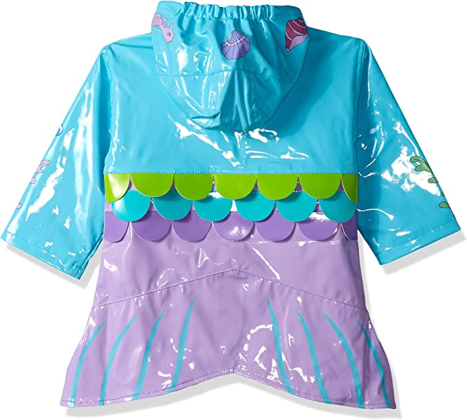 Kidorable Blue Mermaid PU All-Weather Raincoat for Girls with Fish Scale Trim and Star Buttons