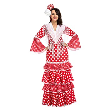 My Other Me Me-203847 Disfraz de flamenca Sevilla para mujer Color rojo S Viving Costumes 203847