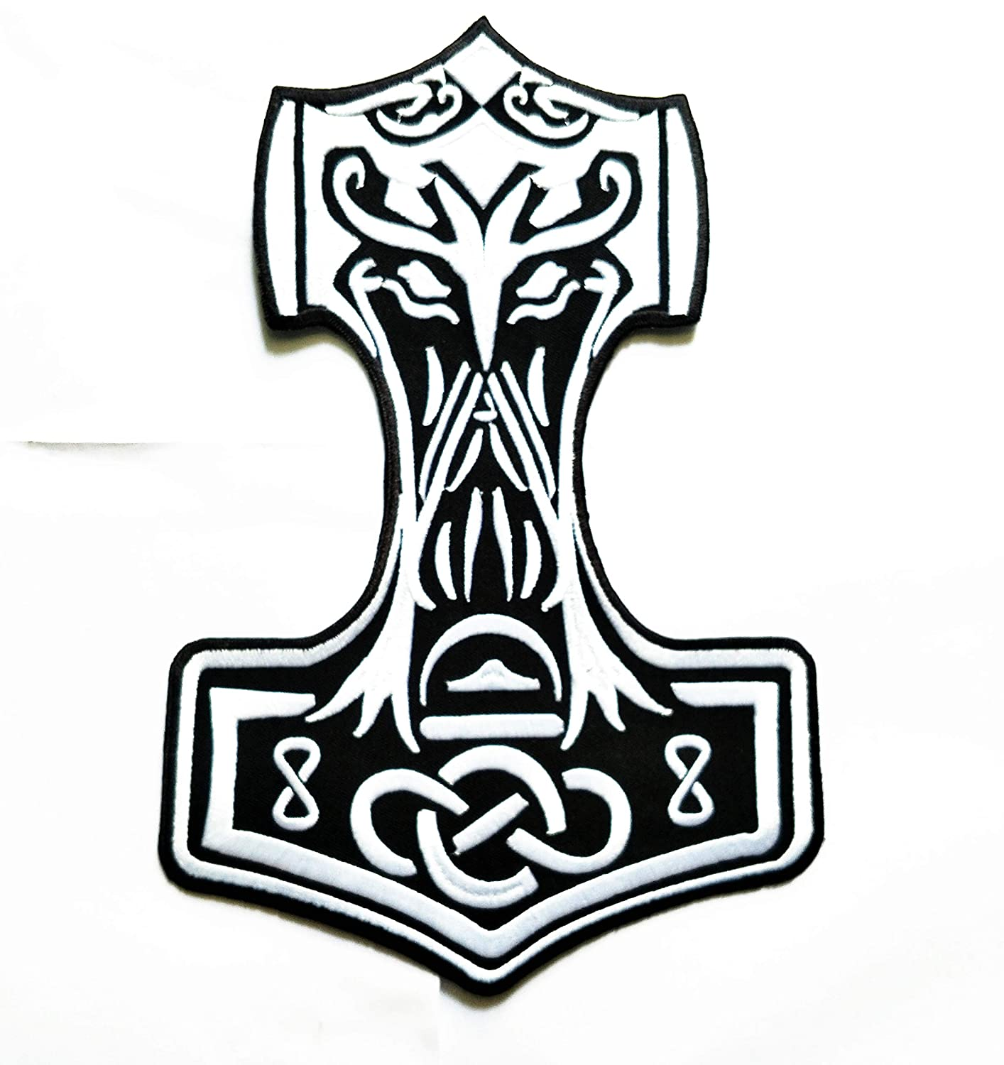 9.5''X 6.5'' Size Big Patch Big Jumbo size Patch BLACK Mjolnir Viking Thor Hammer Loki Odin Skins Patch logo jacket t-shirt Jeans Polo Patch Iron on Embroidered Logo Biker patch by Tour les jours shop
