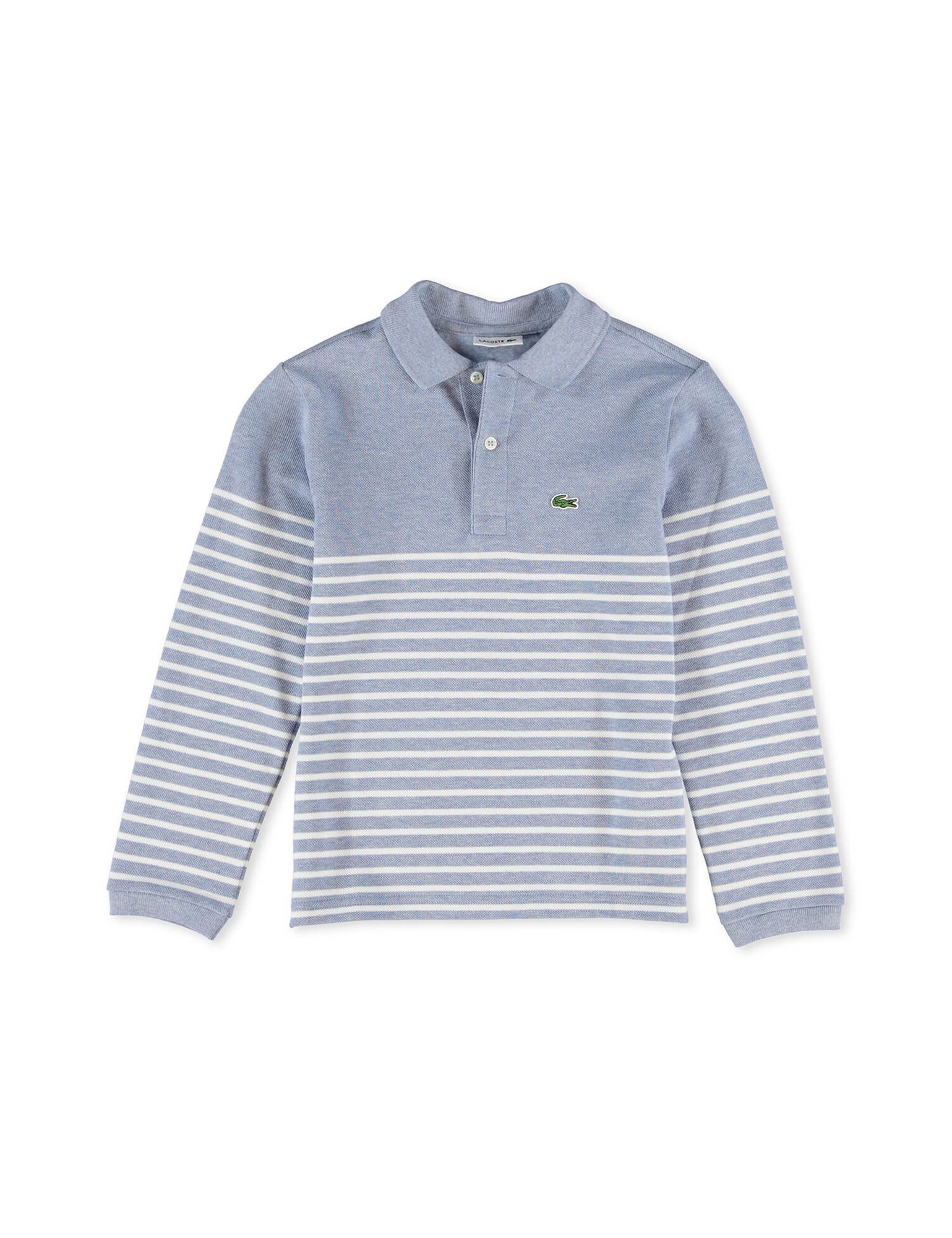 Lacoste Boy's Grey Striped Long Sleeve Polo in Size 1 Years (74 cm) Grey by Lacoste