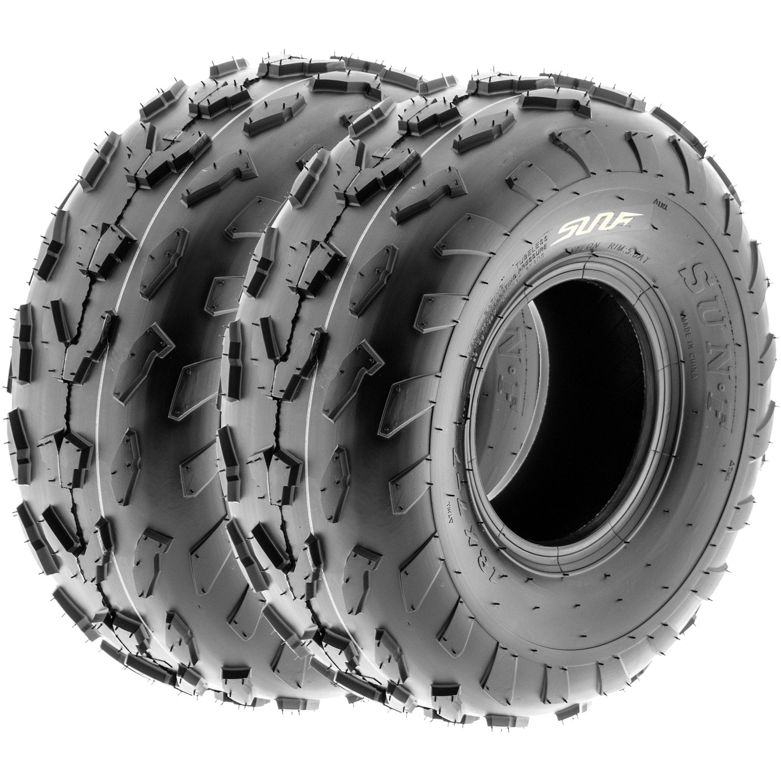SunF 18x7-7 18x7x7 ATV UTV A/T Quad Race Replacement 4 PR Tubeless Tires A007, [Set of 2] by SunF (Image #1)