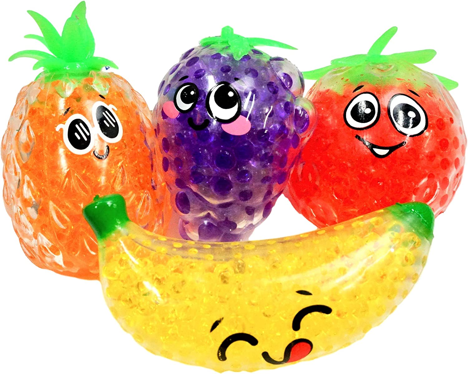 Water Beads Fruit Stress Balls Squishy Toys (4 Unit Assorted) Fidget Toy Large Stress Relief Soft Squishies Balls for Kids Toddlers Adults. Great Party Favors Game Food Toys. Plus 1 Ball 4197-4p