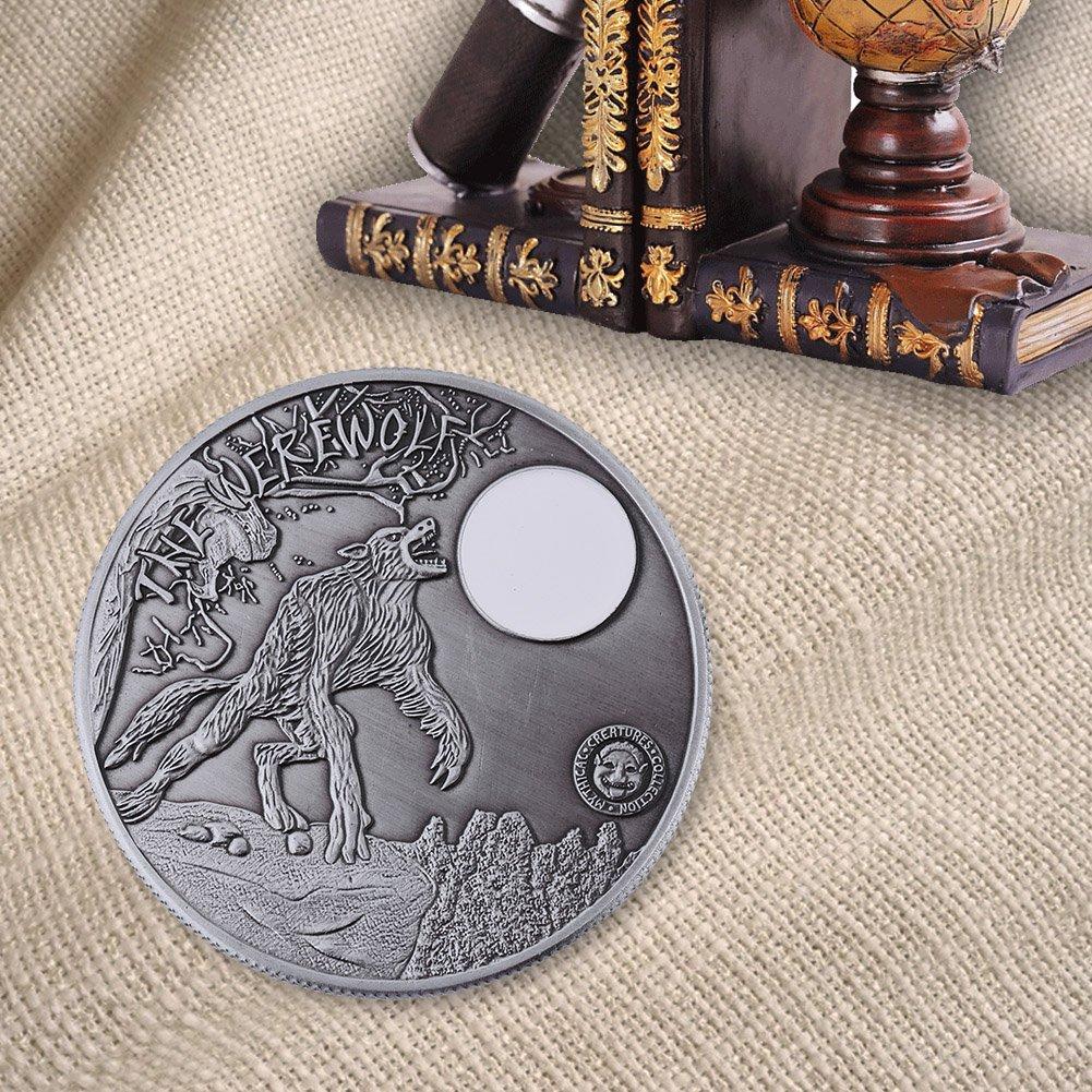 2types Collectible en m/étal pi/èce de monnaie comm/émorative souvenir de jeton Art Collection de numismate souvenir pi/èce de monnaie Werewolf