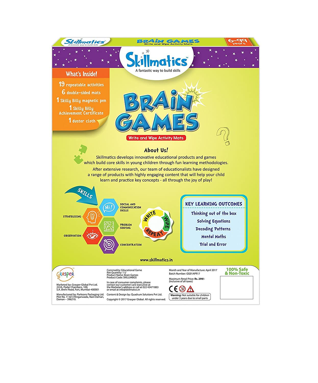 Skillmatics Educational Game: Brain Games (6-99 Years) | Fun Learning Games  and Activities for Kids