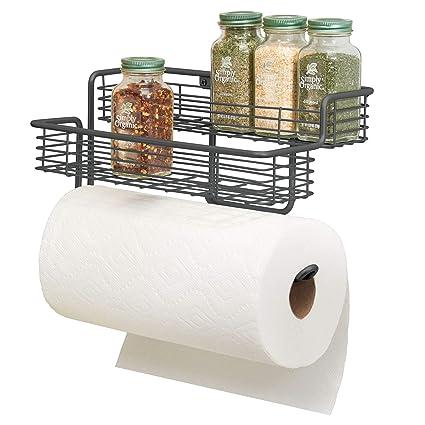 mDesign Portarrollos de cocina – Excelente dispensador de papel en metal  con estantes para especias integrados 246b27f4a002
