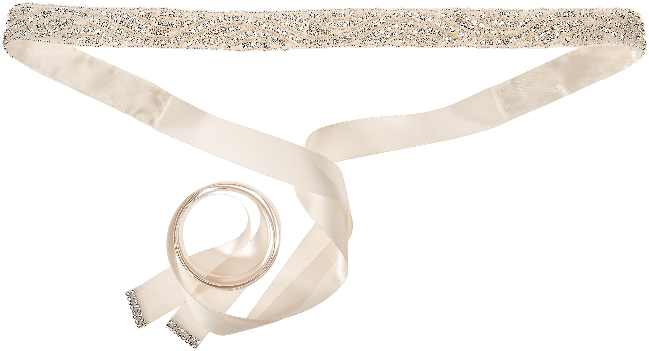 Nina Women's Pazely Art Deco Satin Bridal Belt, Ivory One Size