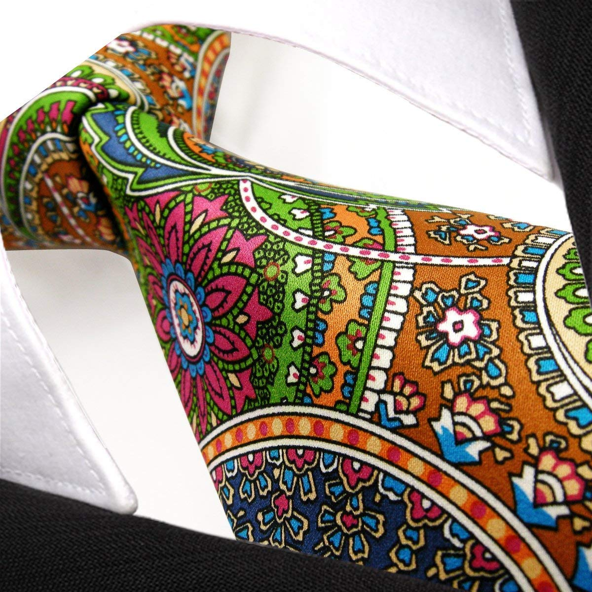 59dd906272f0 Shlax&Wing Mens Ties Neckties Paisley Multicolor Red Green Yellow Silk  Handmade Shlax & Wing I16 larger image
