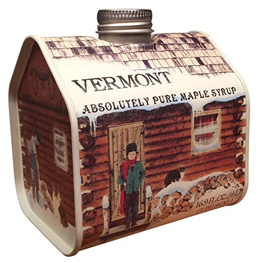 Pure Vermont Maple Syrup Pint Log Cabin Tin (Grade A Medium Amber)