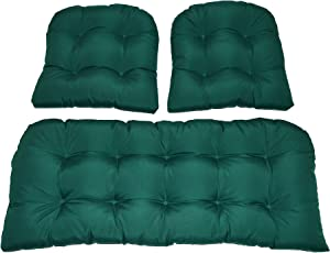 Resort Spa Home Decor 3 Piece Wicker Cushion Set - Solid Hunter Green Indoor/Outdoor Fabric Cushion for Wicker Loveseat Settee & 2 Matching Chair Cushions