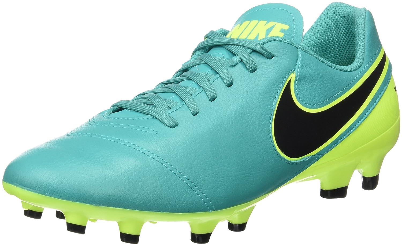 Nike Tiempo Genio II Leather FG, Botas de Fútbol para Hombre 39 EU|Verde (Clear Jade / Black-volt)