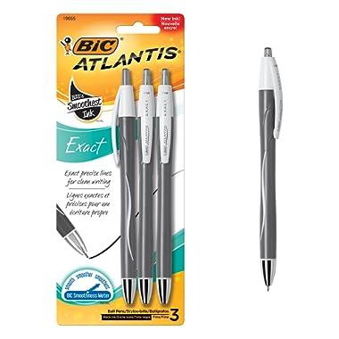 BIC Atlantis Exact Retractable Ball Pen, Fine Point (0.7 mm), Black, 3 Count