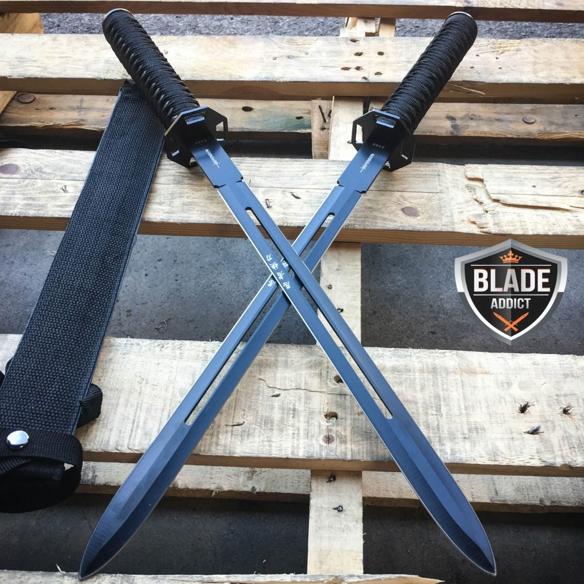 2 PC 23'' NINJA SWORD BLACK DUAL Tactical Machete Blade Katana Throwing EcoGift Nice Knife with Sharp Blade NEW- Great For Fun And Practical Use