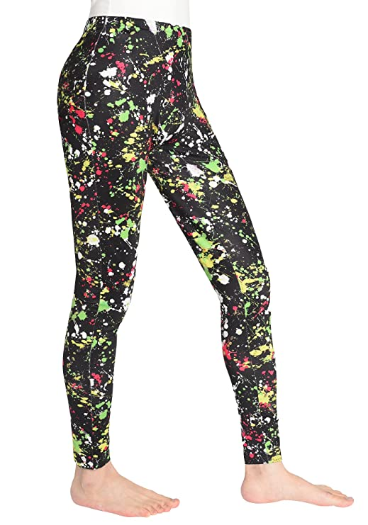 Neon 80s Paint Splatter Leggings for Women with elasticated waistband - sizes 4 to 18.