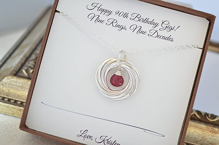 Amazon 90th Birthday Gift For Mom Ruby Birthstone Necklace