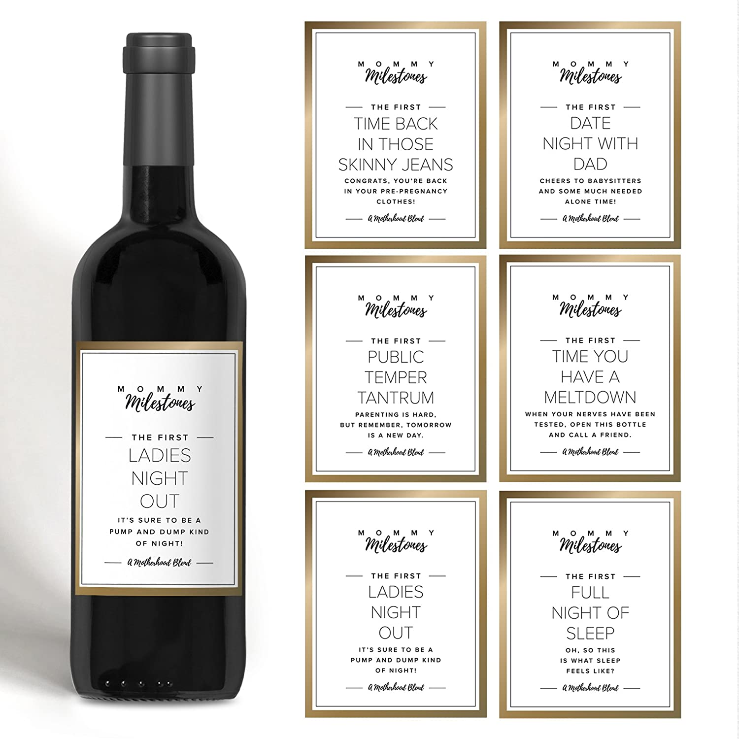 Gift for New Mom, Mommy Milestone Wine Bottle Labels for New Mom, Mommy-to-be or friend. Gold set of 5 wine labels. Perfect for Baby Shower, Mother's Day or Gift for Mom from Bliss Paper Boutique