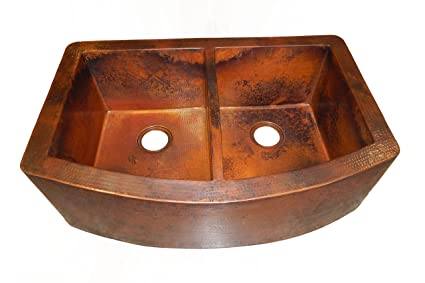 Rounded Apron Front Farmhouse Kitchen Double Bowl Mexican Copper Sink 50/50