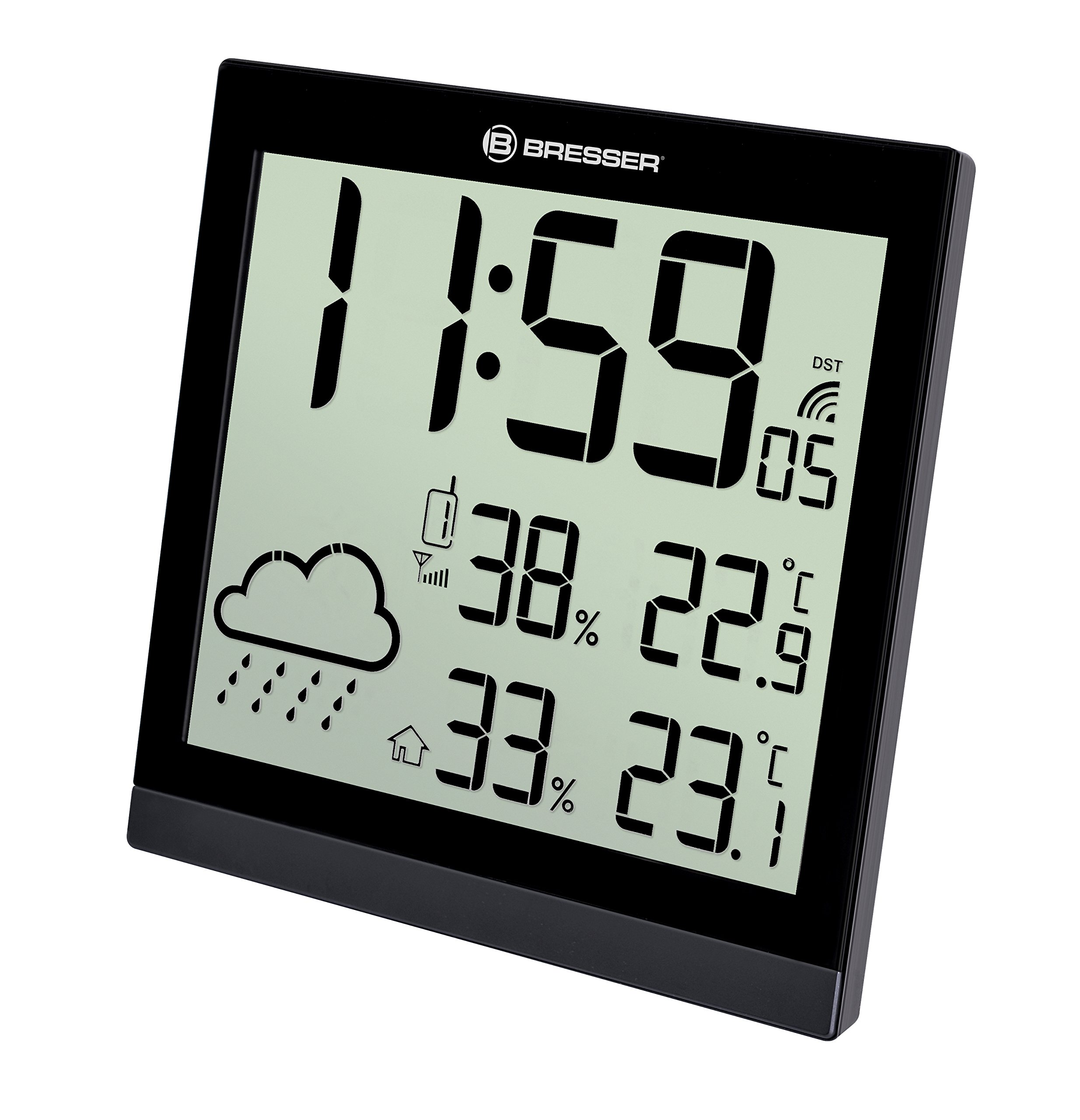 Bresser Weather Station Wall Clock Temeotrend Jc 22X22Cm With Outdoor Sensor, Black